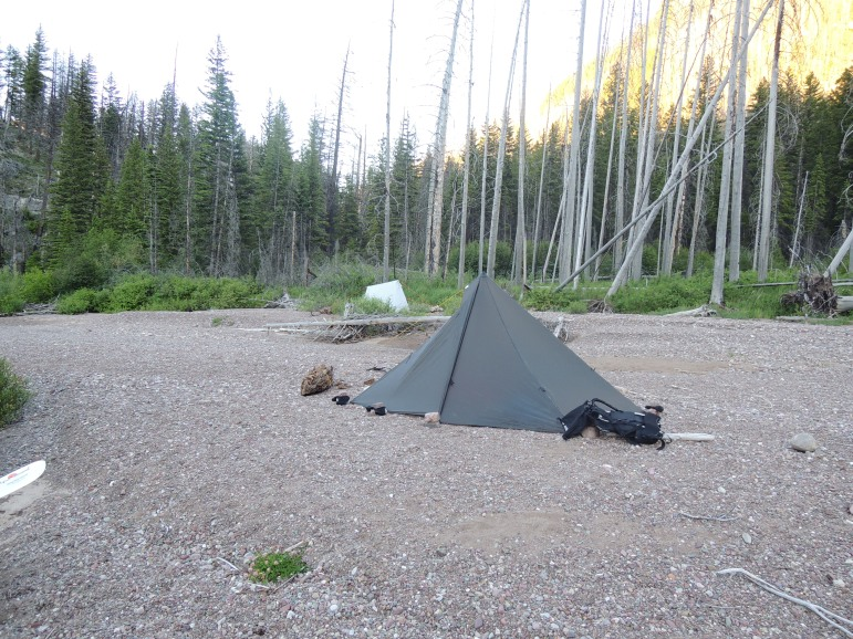 We camped on a gravel bar.